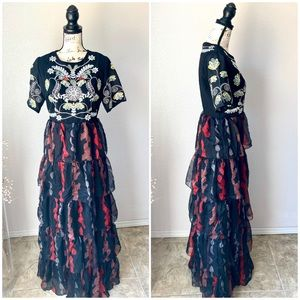 L'ATISTE by Amy NWT Black Tiered Maxi Dress